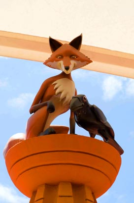 Fox & Raven sculpture